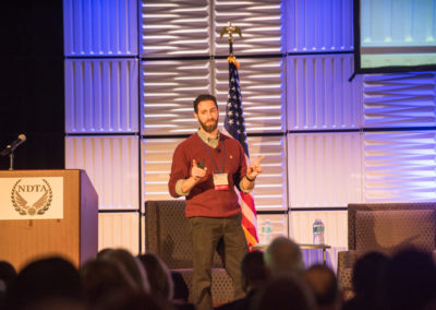 Jonathan Mostowski, Acquisition Strategist, Defense Digital Service, giving the keynote at GovTravels 2017. (Photo by Cherie Cullen)