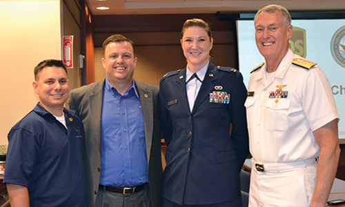 Lloyd Knight, Captain Chris Dupuis, Captain Alyson Busch, and Admiral Chris Sadler during the VETLANTA Summit